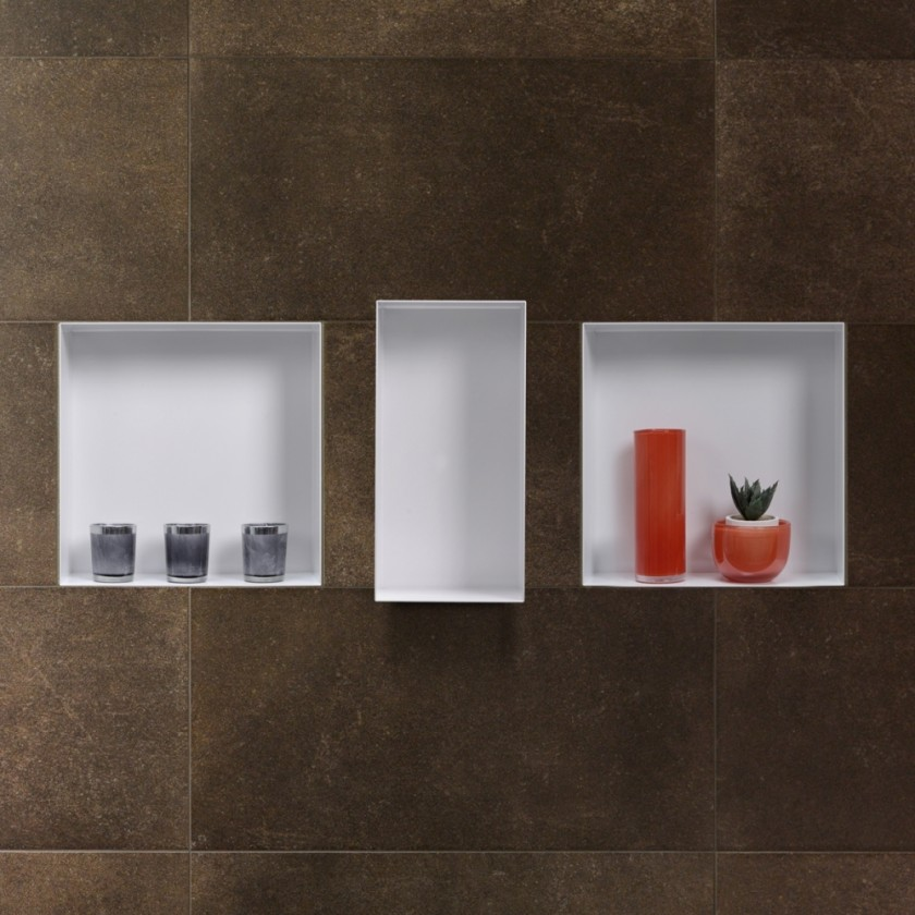 C box white wall niche storing bathroom items - Wall niches ...