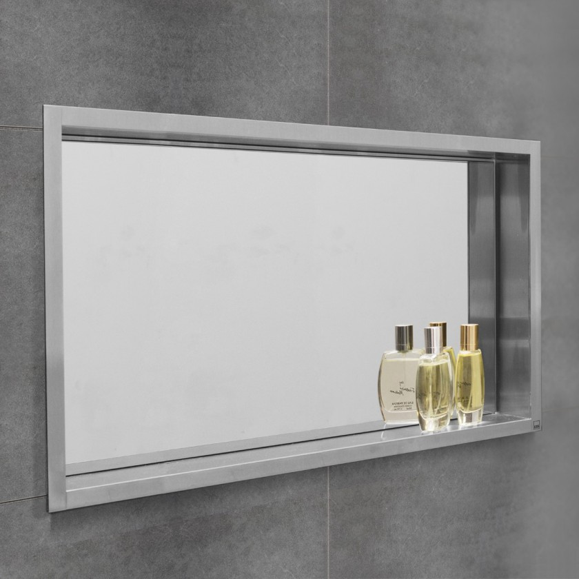 Container box with mirror wall niche for Carrelage mural miroir