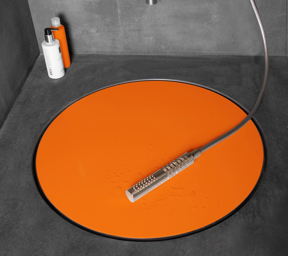 orange shower drain