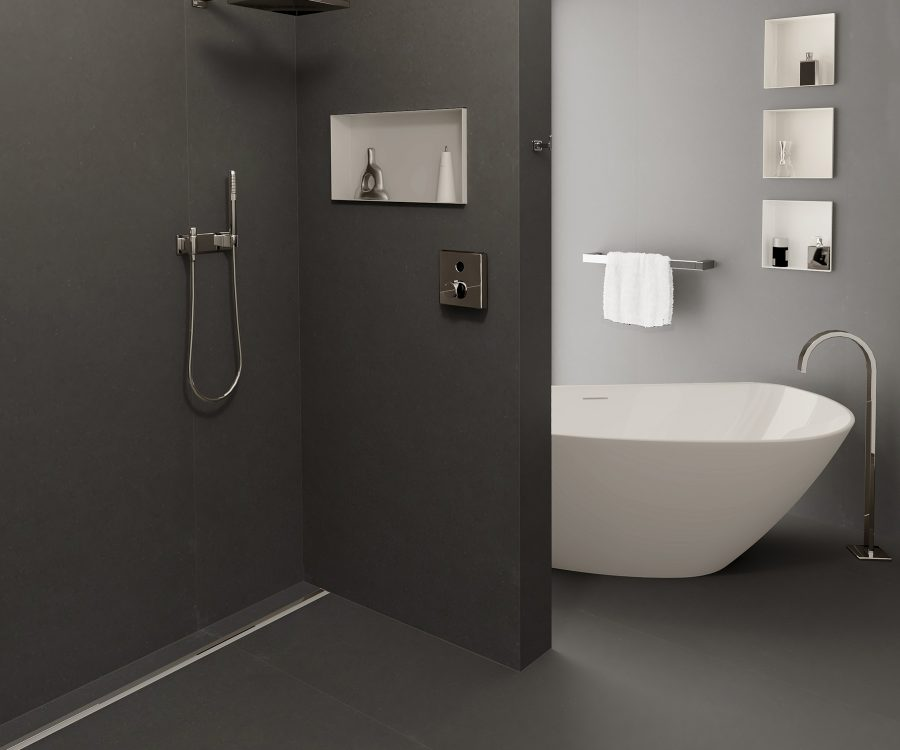 bathroom inspiration wall niches and linear shower drain