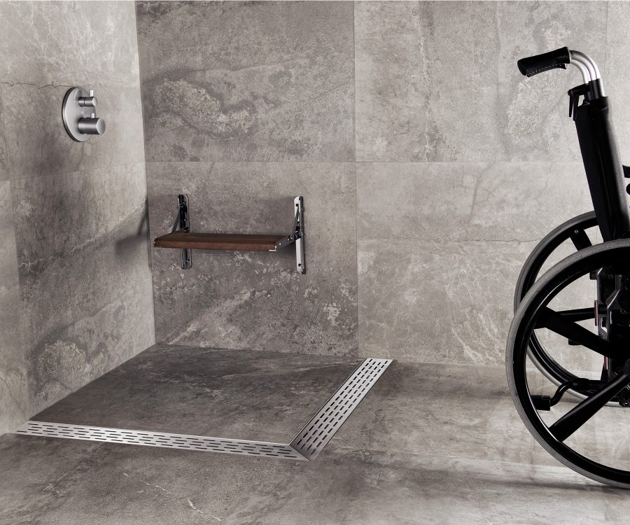 angular shower drain wheelchair