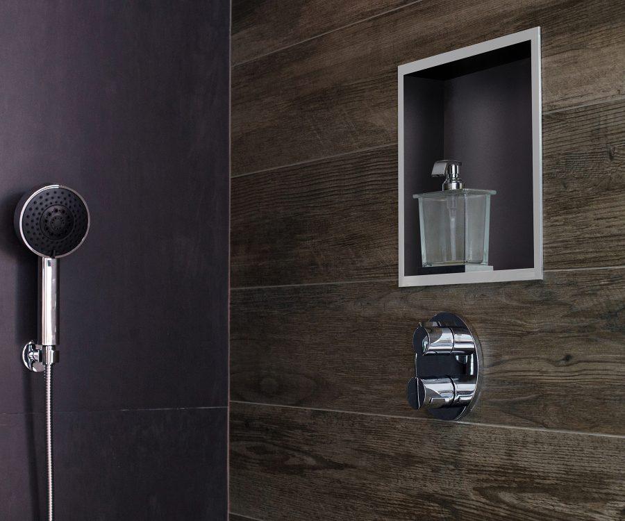 shower niche in bathroom