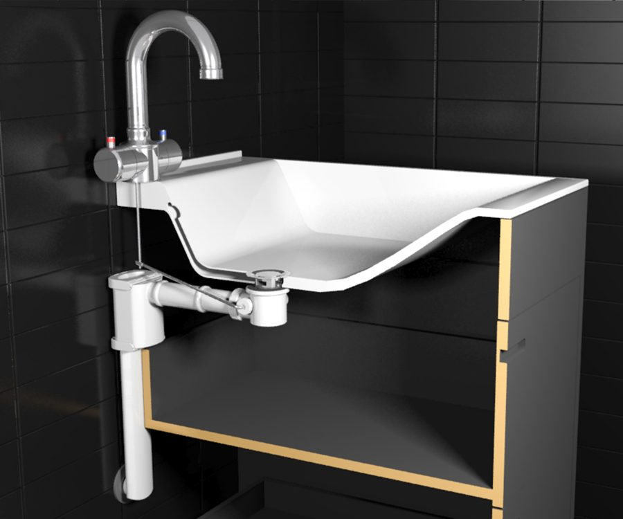 space saving washbasin siphon