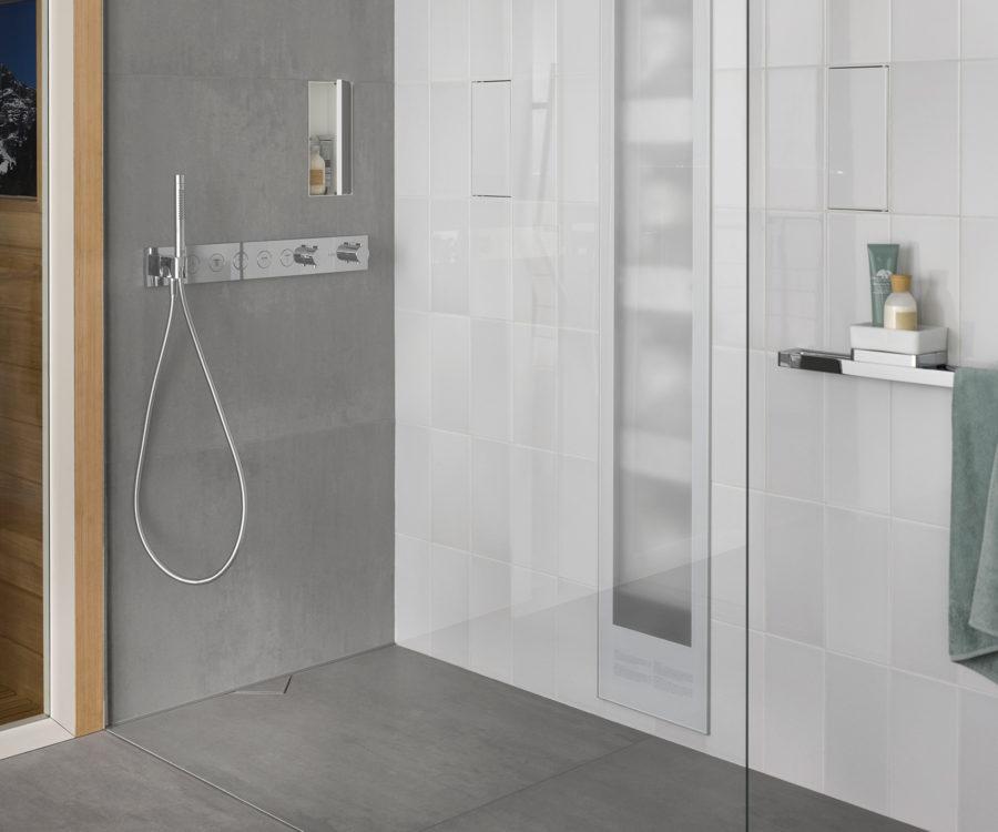s-line shower drain wall