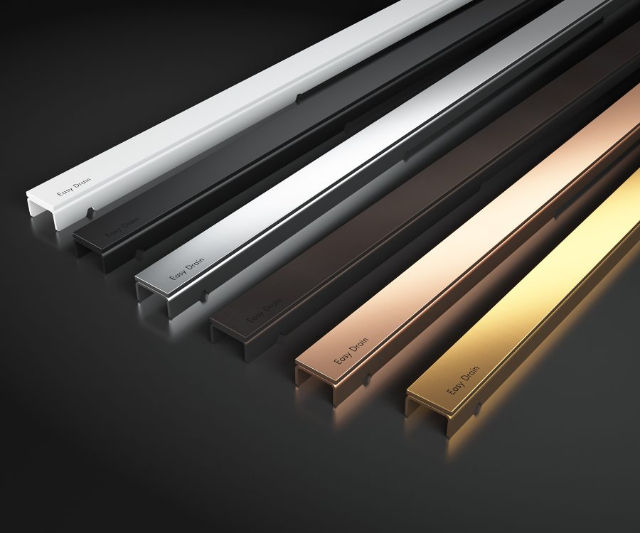 linear shower drain special finishes