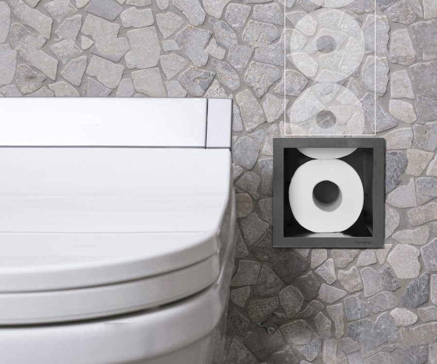 built-in toilet paper storage container