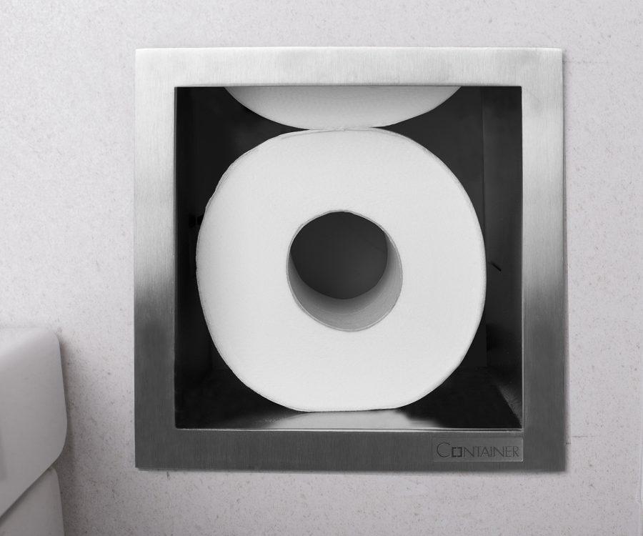 closeup toilet paper storage
