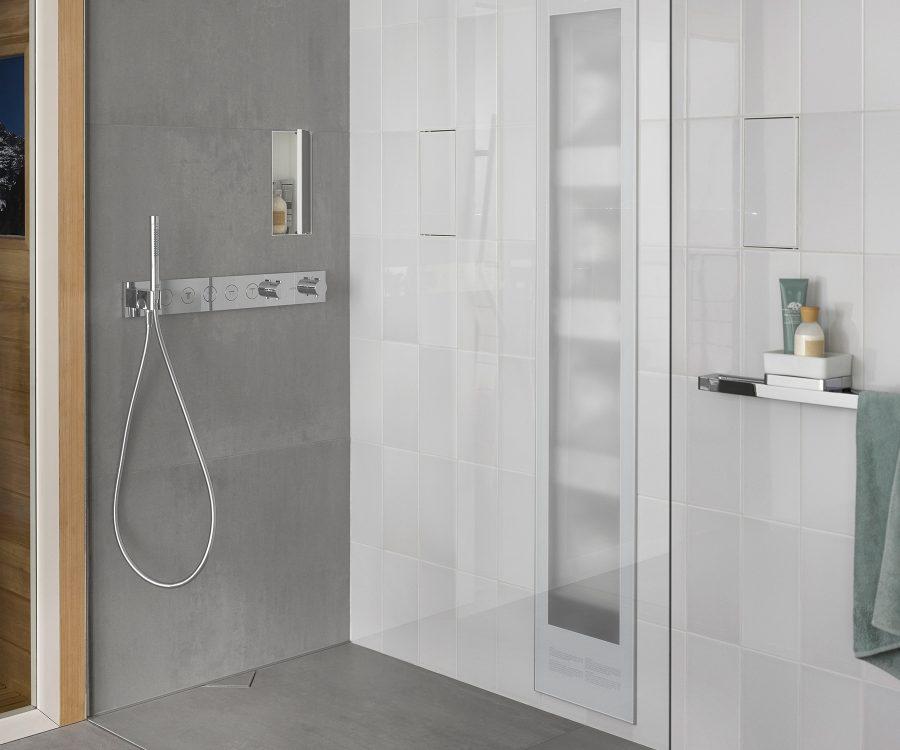bathroom ideas with hidden shower drain and hidden wall niche