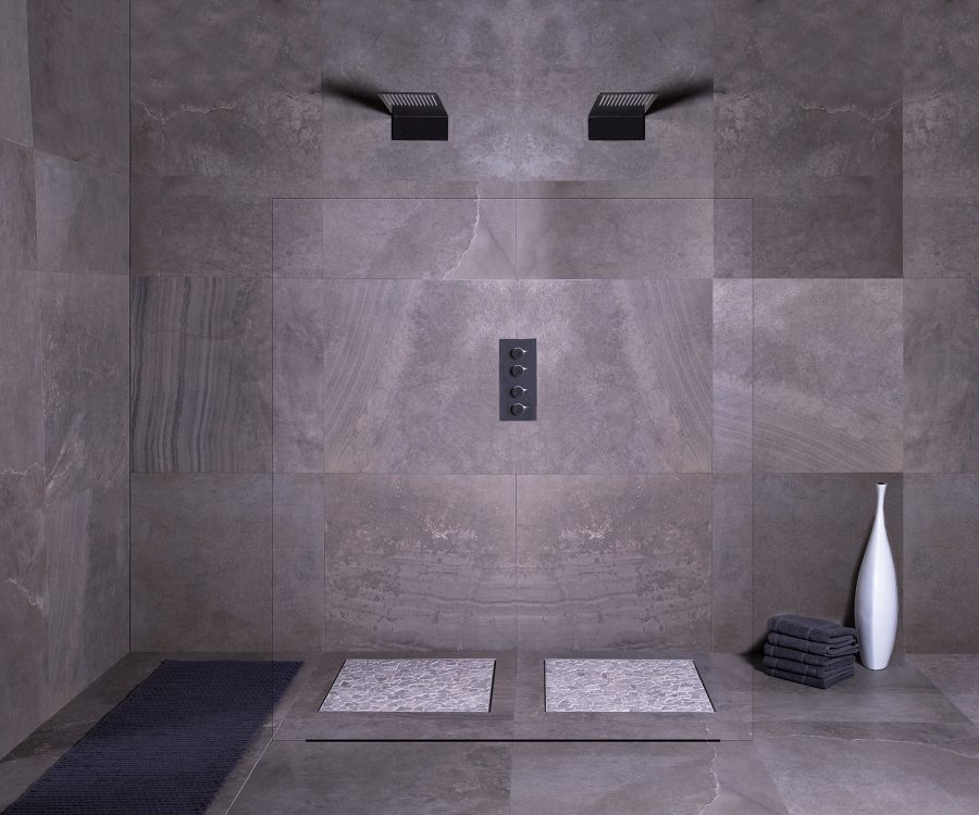 dot & square shower drain design