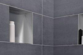 stainless steel bathroom